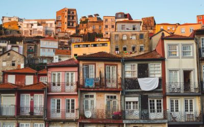 View on old buildings in Porto, Portugal. Sunset in the city.